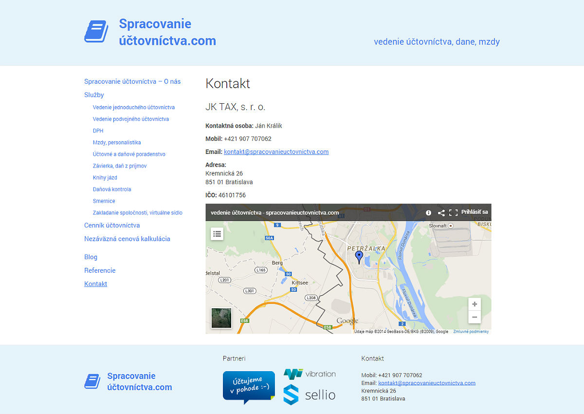 Kontakt Spracovanie Účtovníctva Bratislava