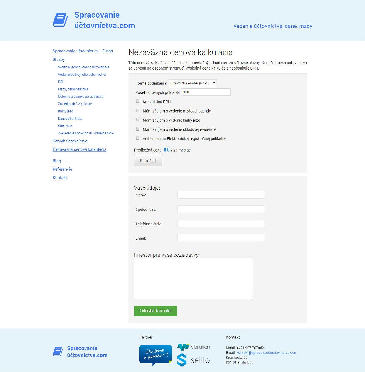 Nezáväzná cenová kalkulácia Spracovanie Účtovníctva Bratislava