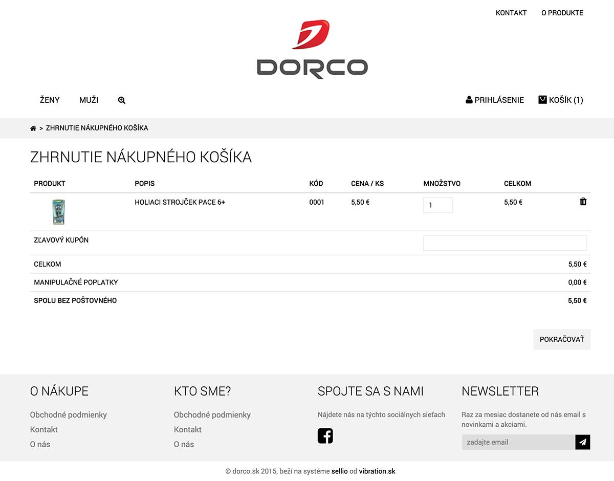 Obsah nákupného košíka Dorco
