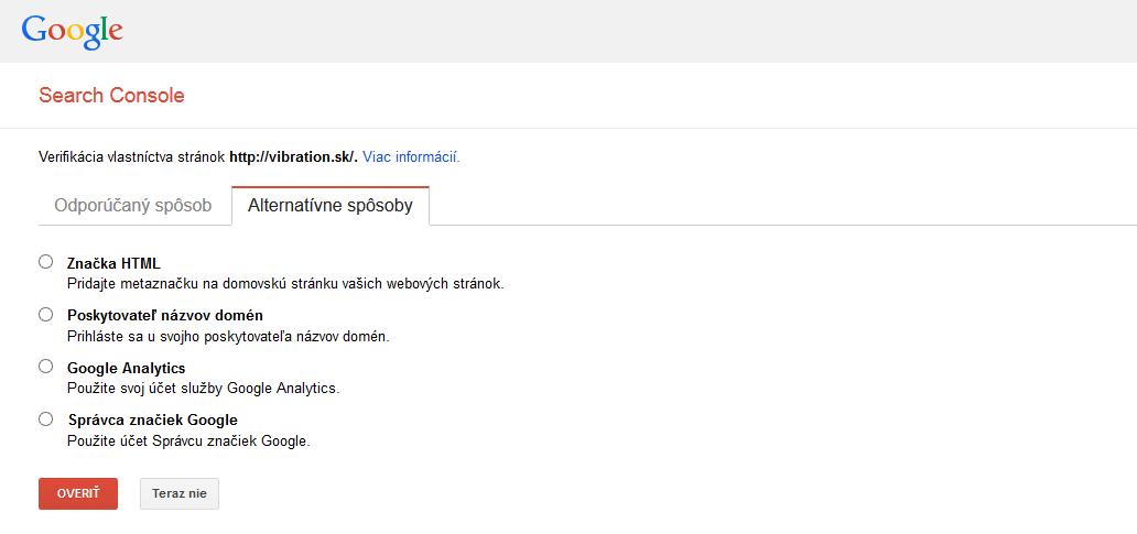 google search console overenie