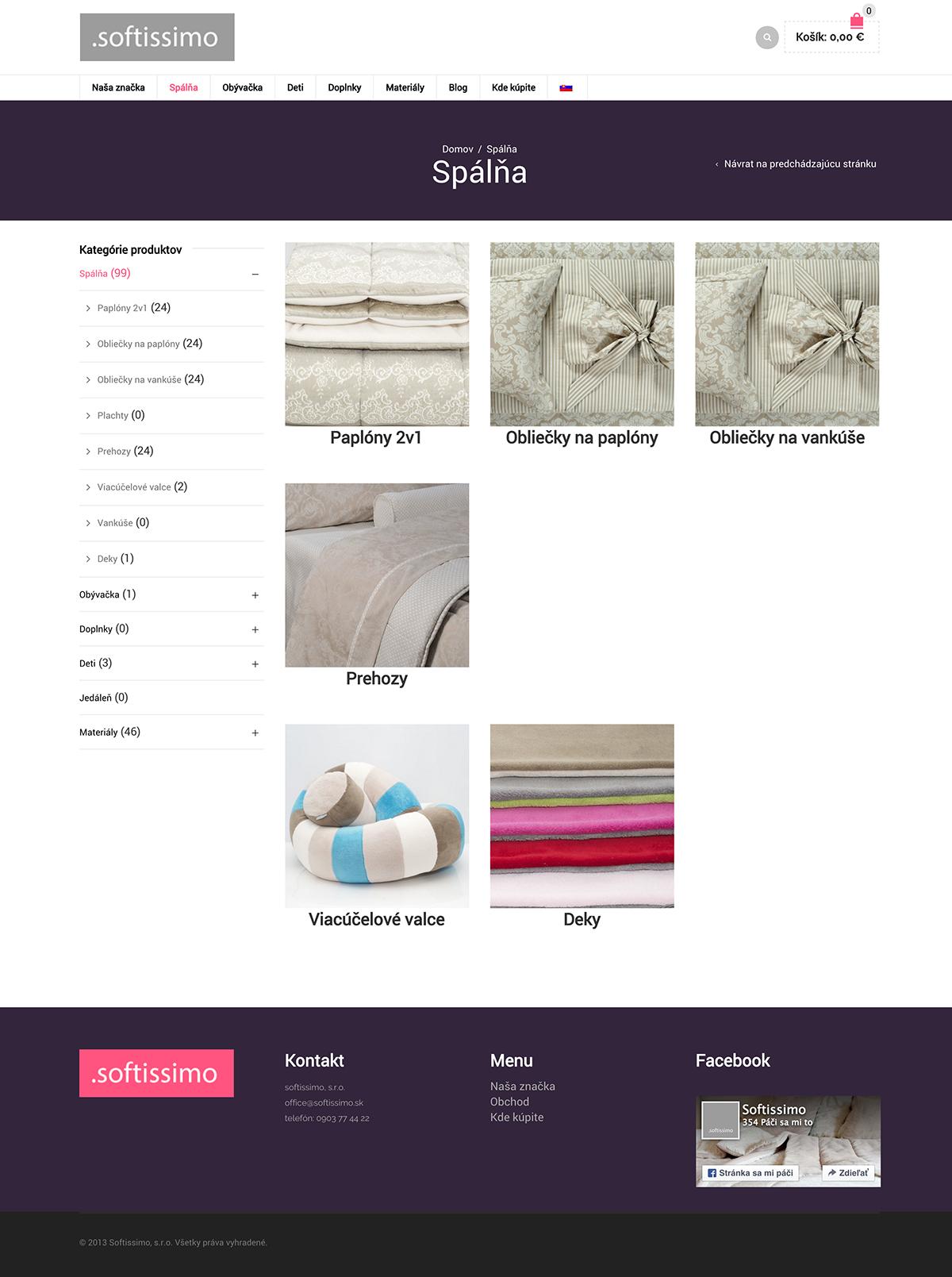 Spálňa Kategórie produktov softissimo