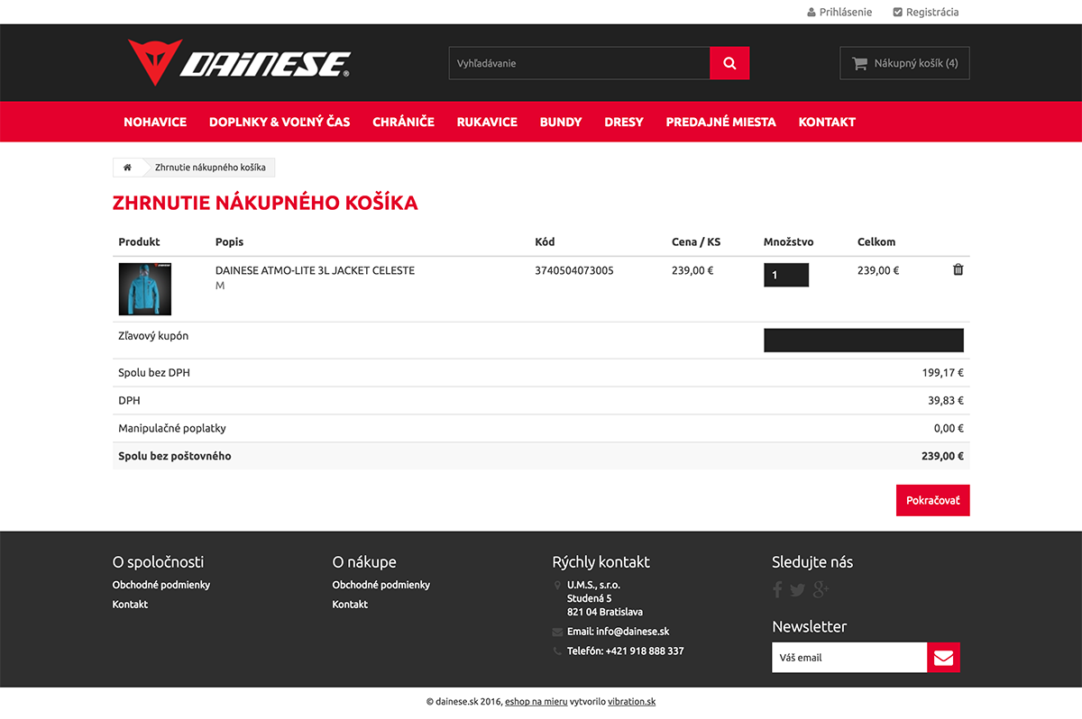 Obsah nákupného košíka Dainese.sk