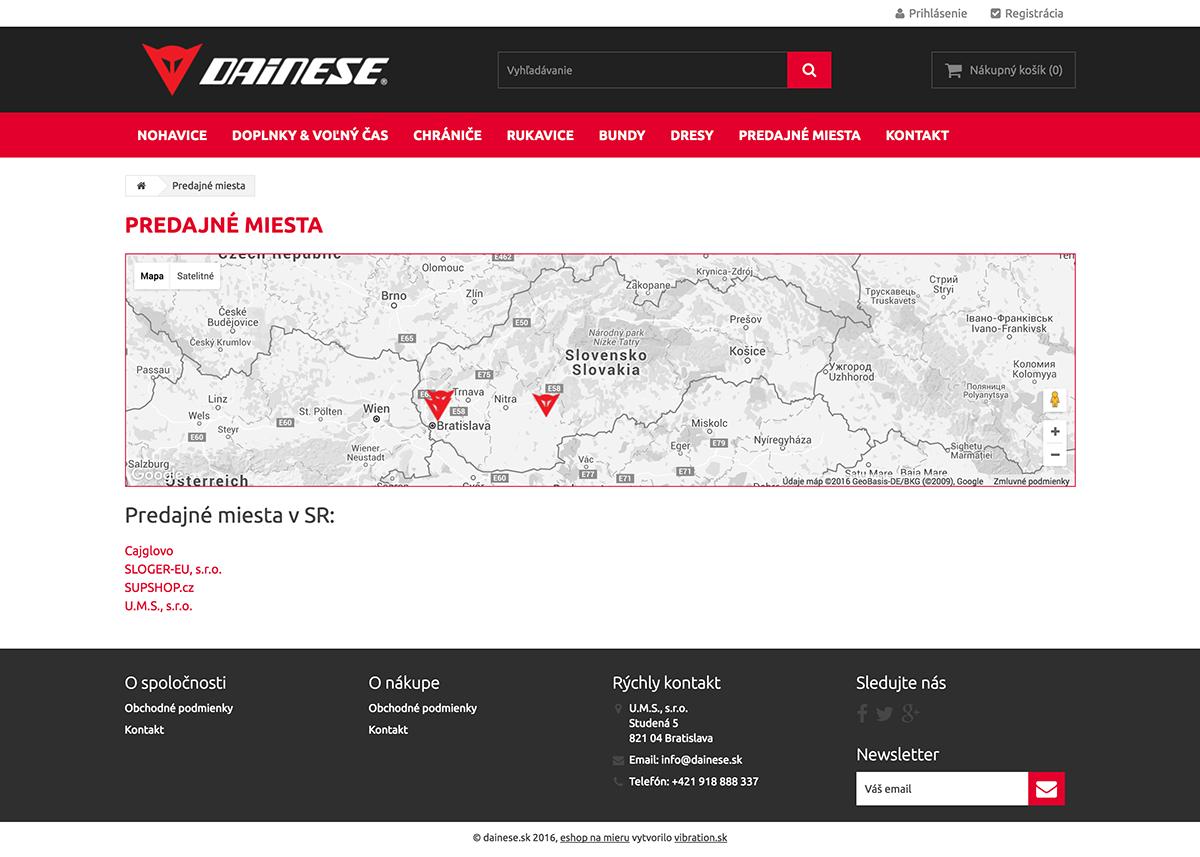 Predajné miesta Dainese.sk