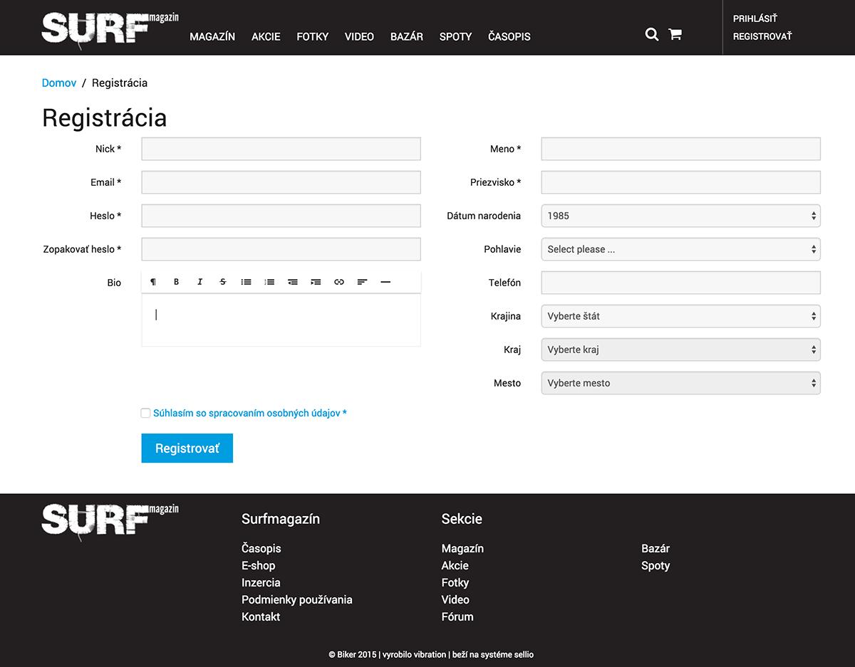 Registrácia surfmagazin
